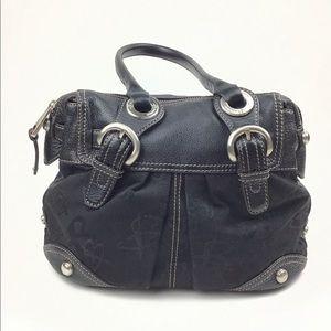 Black trim leather shoulder bag